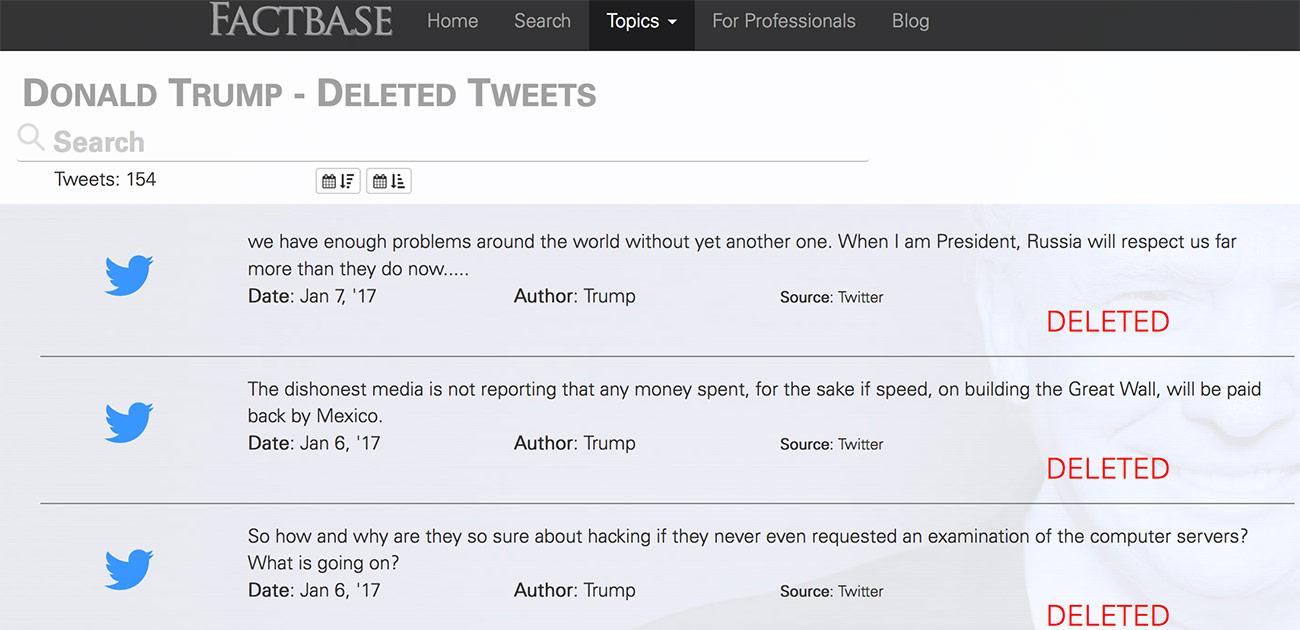 3e0ed3b9 Donald Trump Deleted Tweets Twitter | Factbase