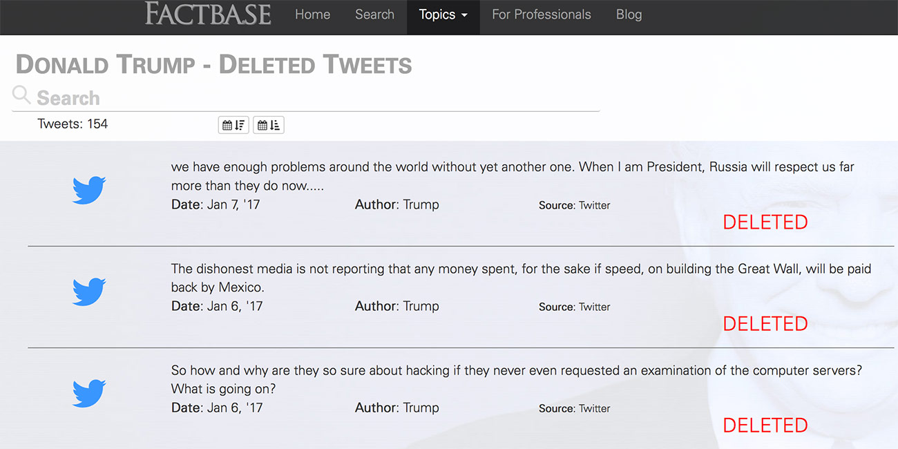 b46e730c94f Donald Trump Deleted Tweets Twitter